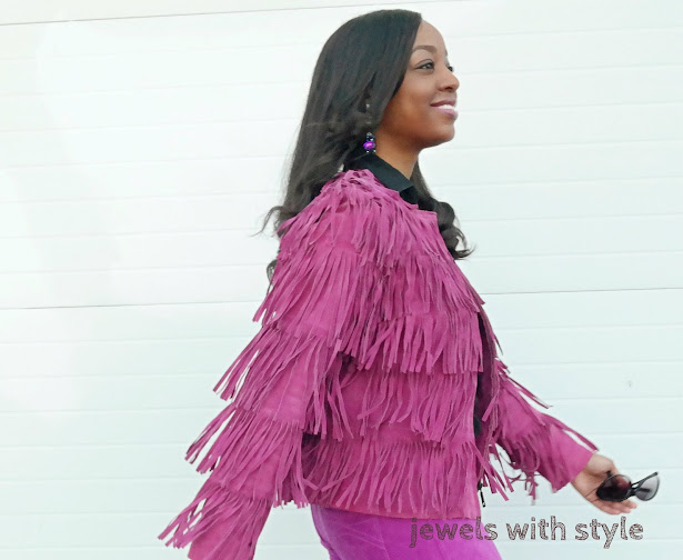 fringe coat, statement coat, how to wear a statement coat, monochrome, purple coat, purple pants, jewels with style, columbus blogger, black fashion blogger, style blogger, how to wear one color