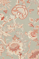 Red on linen flower wallpaper T4147
