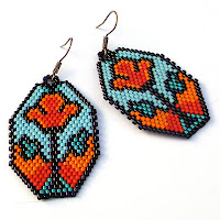 free peyote patterns earrings seed beaded beadwoven