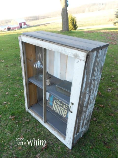 window framed rustic cabinet tutorial