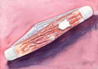 "Pocket Knife - Watercolor - 14"" x 20"" - Before Warming"