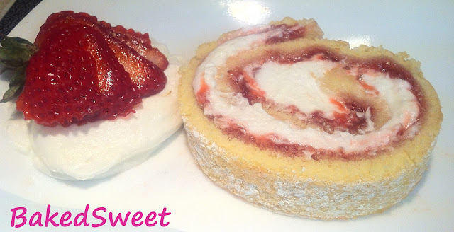 Slice of Strawberry Jelly Roll