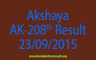 Akshaya AK 208 Lottery Result 23-9-2015