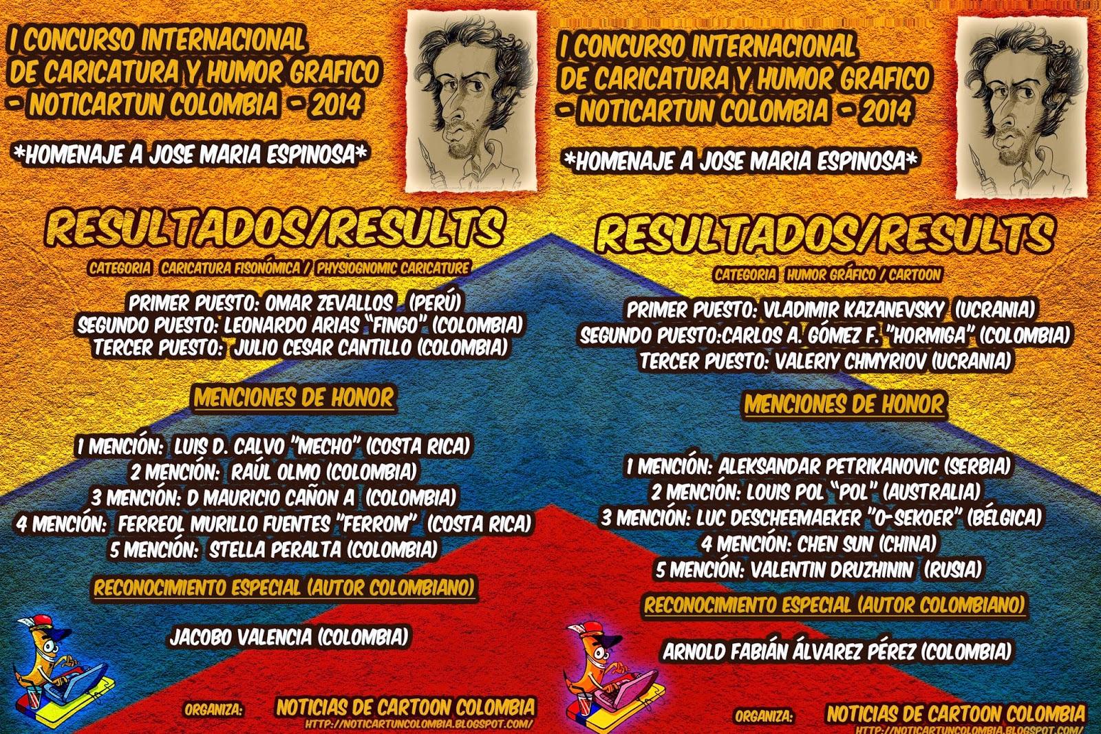 RESULTADOS DEL I CONCURSO INTERNACIONAL DE CARICATURA Y HUMOR GRAFICO - NOTICARTUN COLOMBIA - 2014
