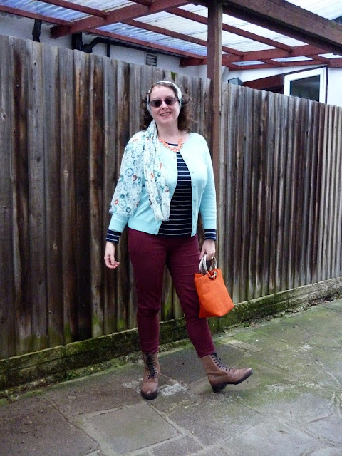 National Trust Scarf, Camaieu Tee, Geox Boots | Petite Silver Vixen
