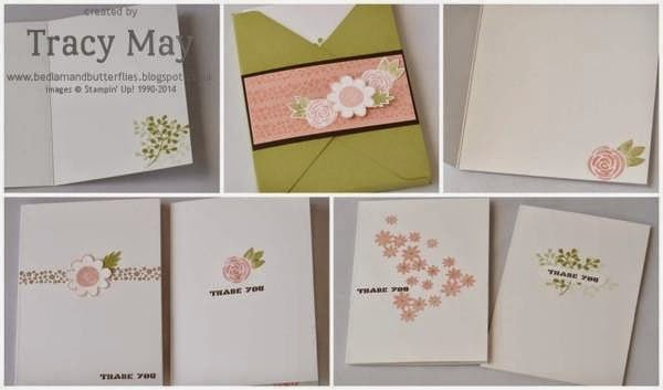 stampin up independent demonstrator Tracy May garden party thank you card making ideas