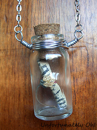 message in a bottle necklace tutorial