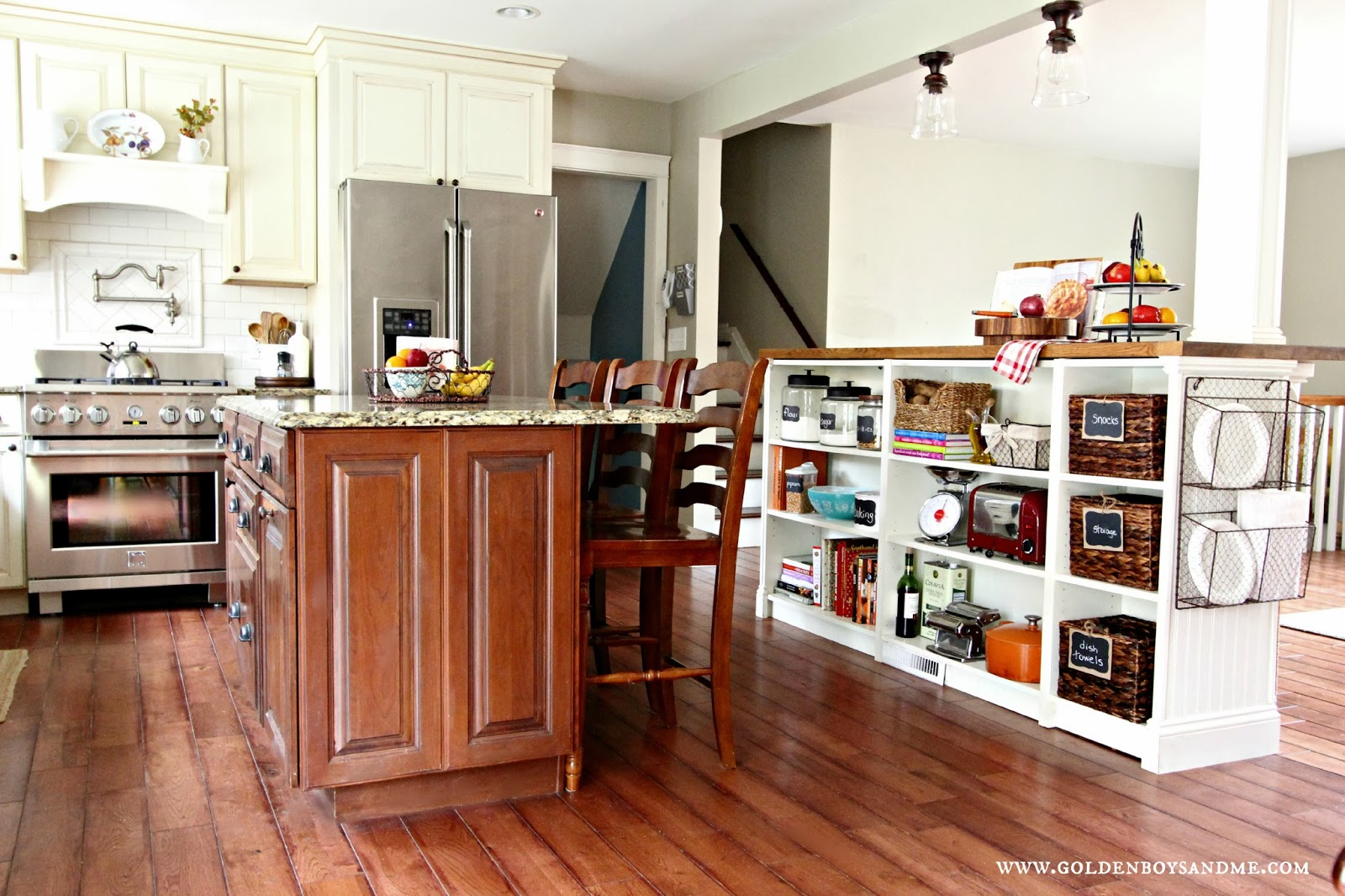 Amazing Kitchen Island With Bookshelf #10: Ikea Hack Billy Bookshelves Kitchen Island Storage With Butcher Block And  Bead Board-www.