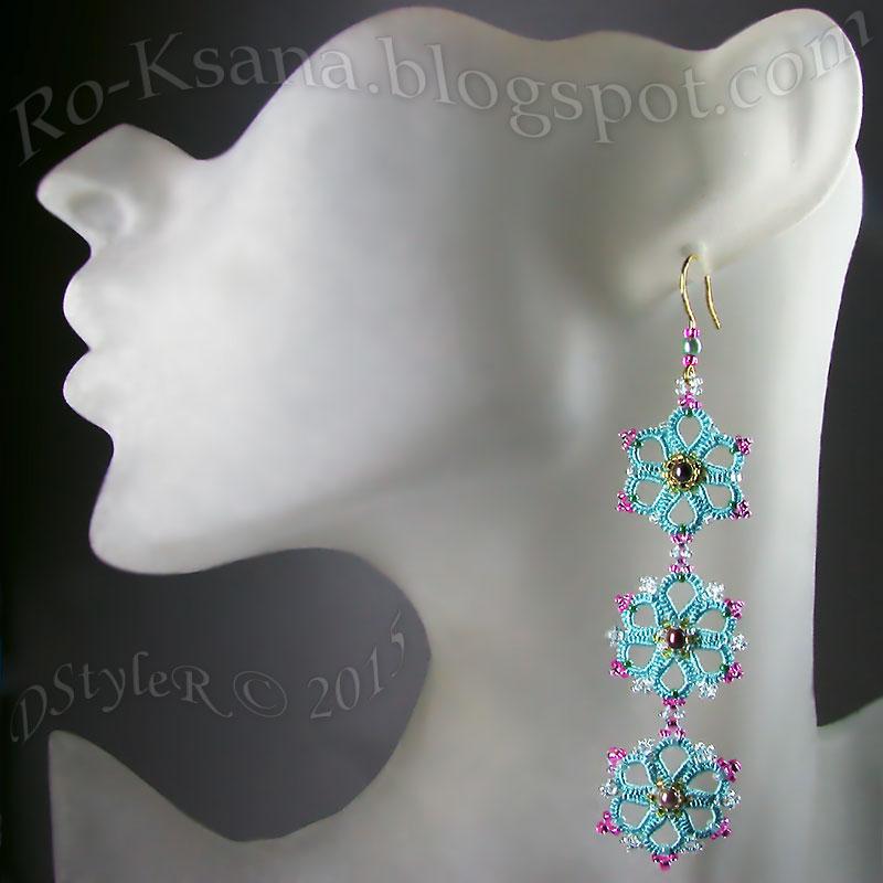 """Frivolite Earrings """"Spring Freshness"""" pink seedbeads Кружевные серьги """"Весенняя свежесть"""": зеленые с розовым бисером"""