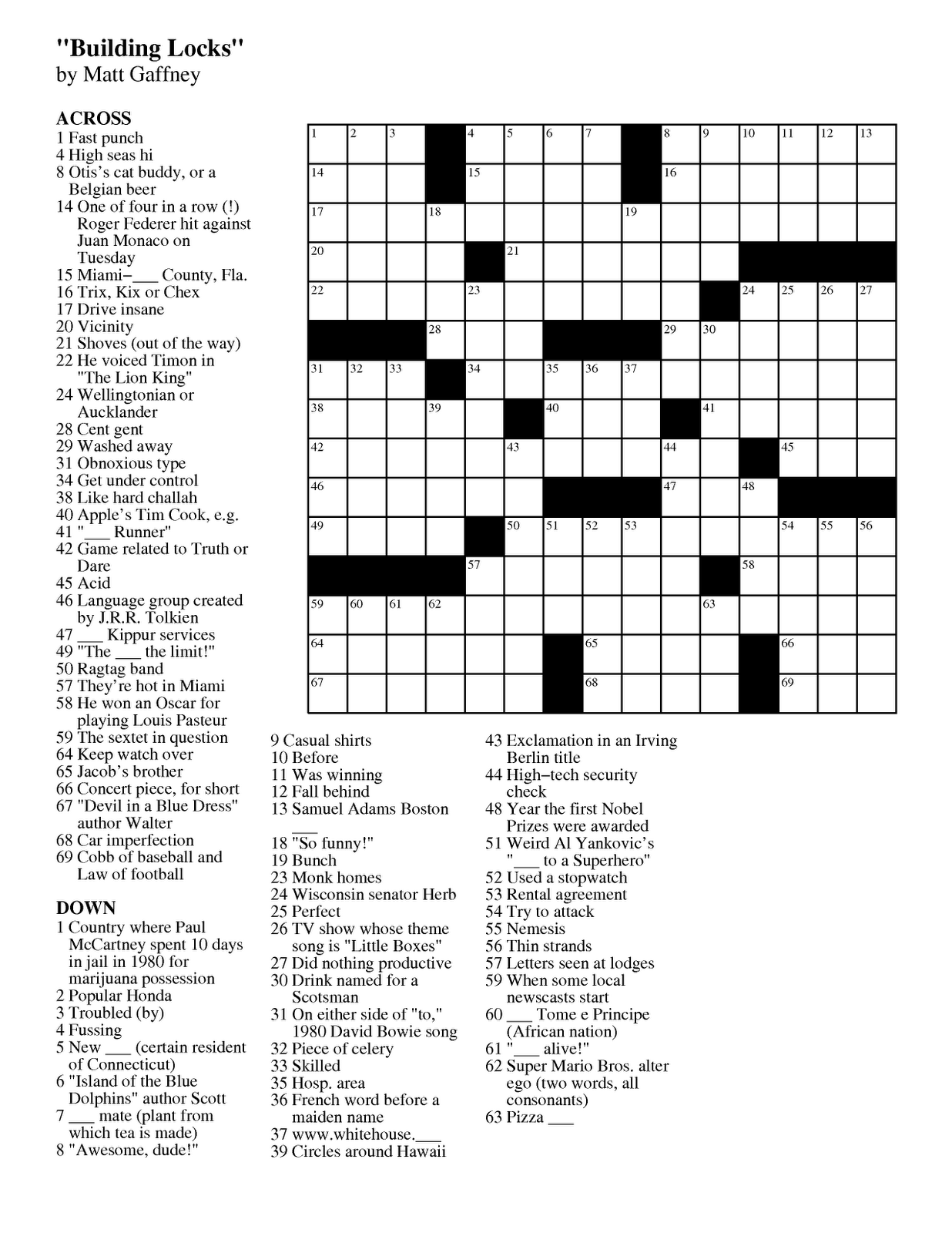 Matt Gaffney S Weekly Crossword Contest September 2011