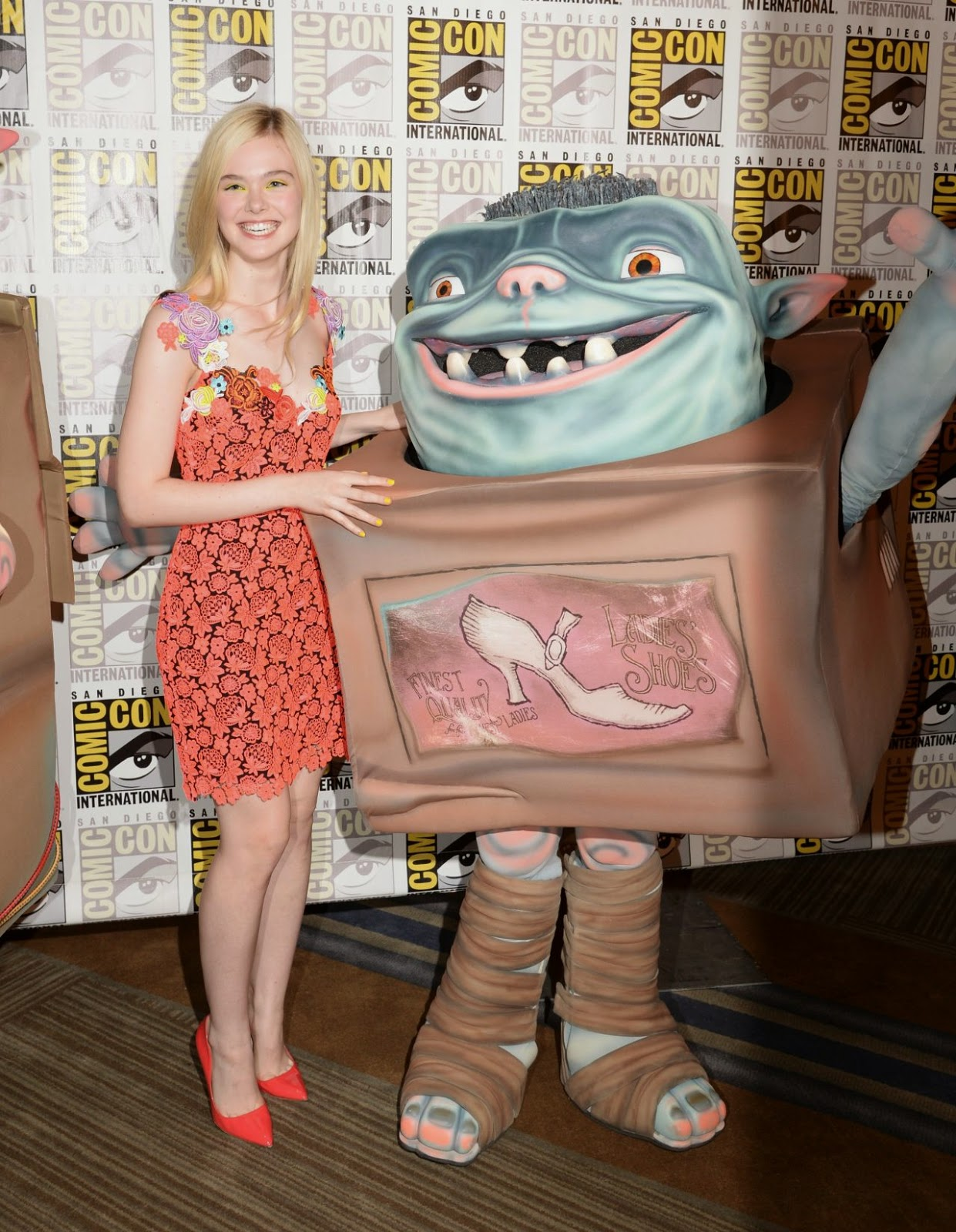 Elle Fanning in a Christopher Kane dress at 'The Boxtrolls' press line at Comic-Con 2014