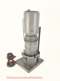 Tall vertical processing tower for 25-28mm scale wargames - side view 1.