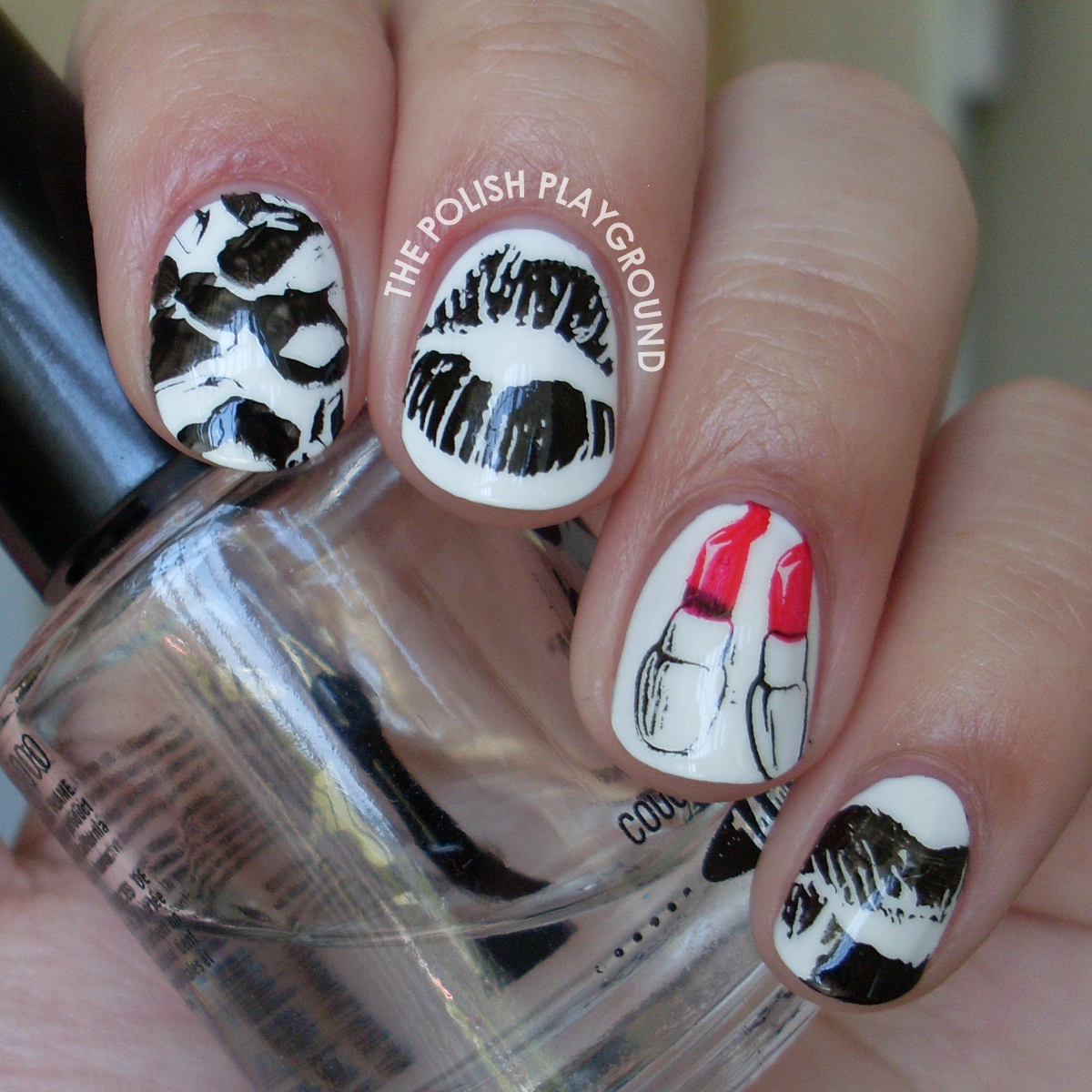 Lipstick Kisses Stamping Nail Art