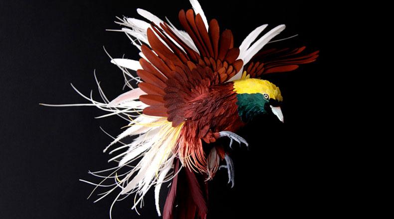 Pájaros de papel artesanales por Diana Herrera Beltrán