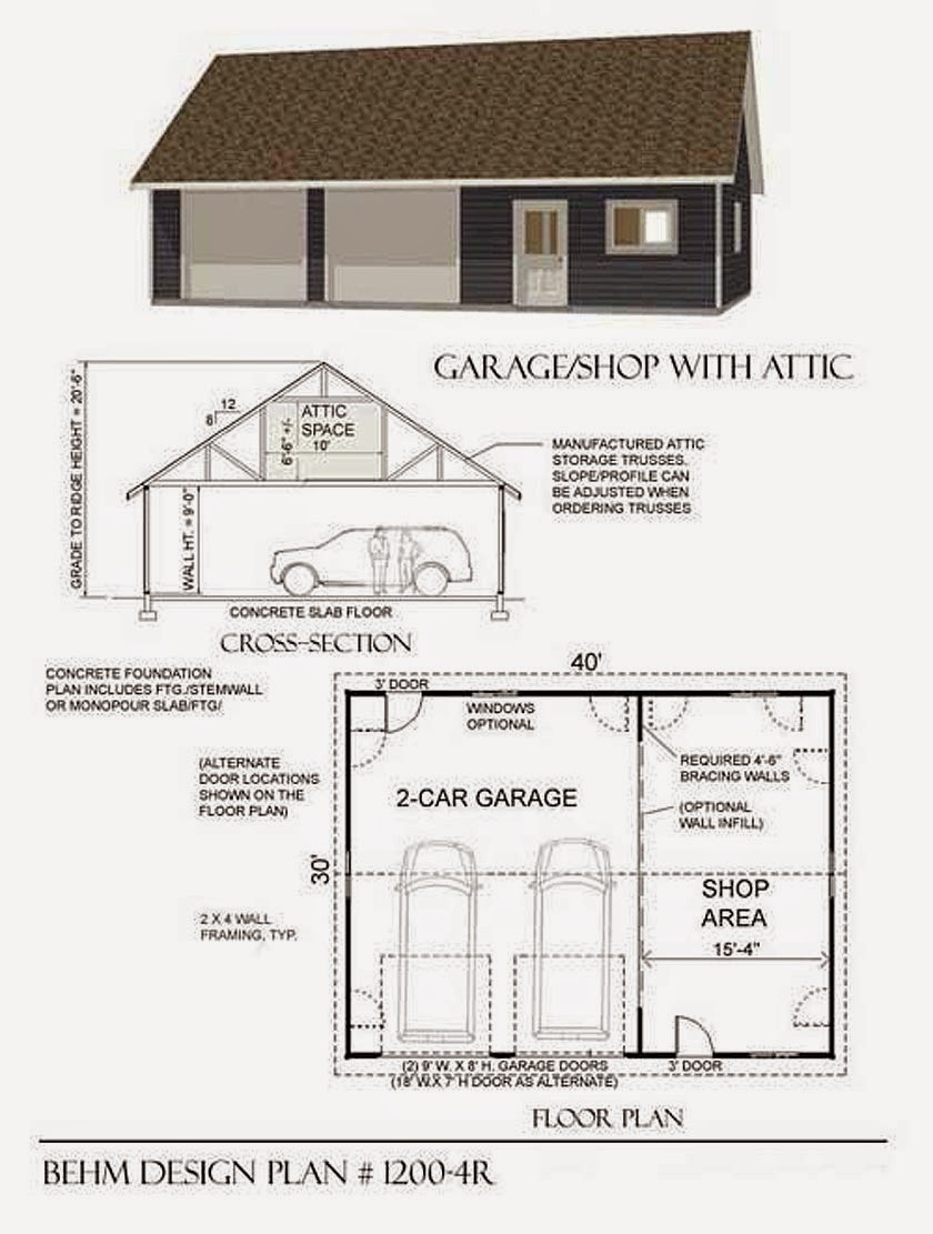 Garage plans blog behm design garage plan examples for How large is a 2 car garage