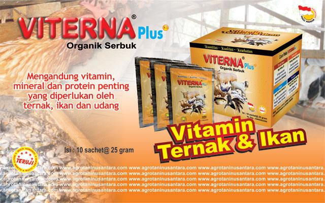 VITERNA Plus (Serbuk) merupakan suplemen pakan ternak, ikan dan udang yang diolah dari berbagai macam bahan alami hewan dan tumbuhan yang memberikan zat-zat yang sangat diperlukan untuk pertumbuhan produktivitas dan kesehatan ternak, ikan dan udang | Agro Nusantara | www.agrotaninusantara.com