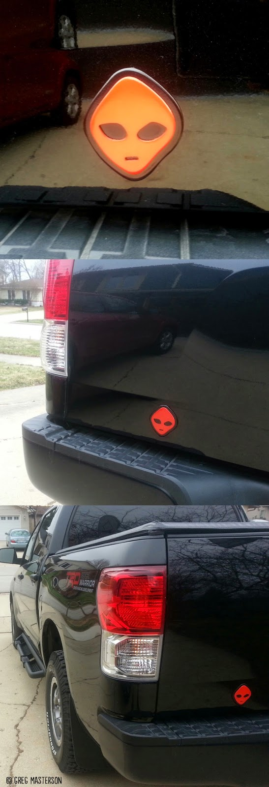 Red and Black WATTO Distinctive Metal Wear Alien Art on Toyota Tundra
