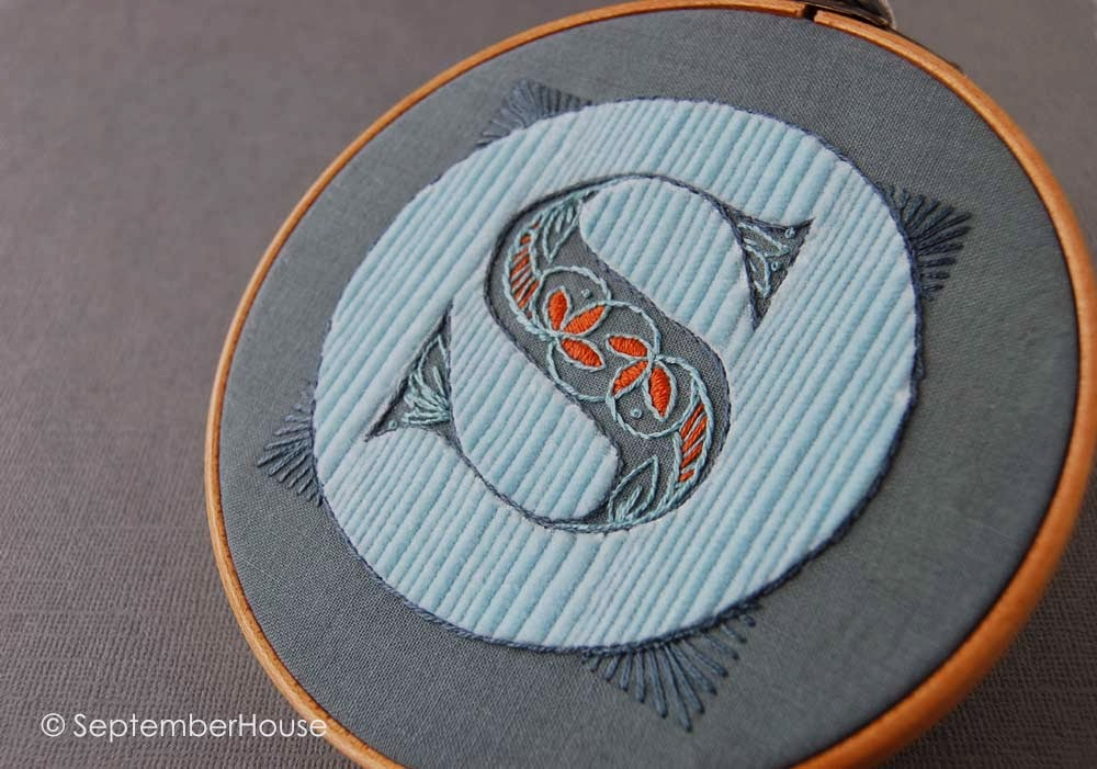 Hand Embroidered Monogram with reverse applique by SeptemberHouse