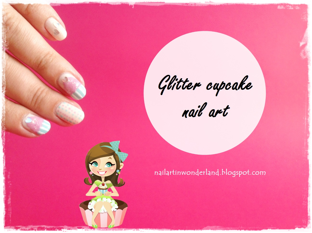 Glitter cupcake nail art