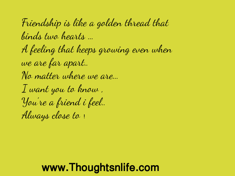 Thoughtsnlife: Friendship is like a golden thread