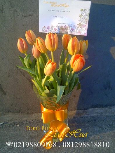 jual rangkaian bunga tulip orange