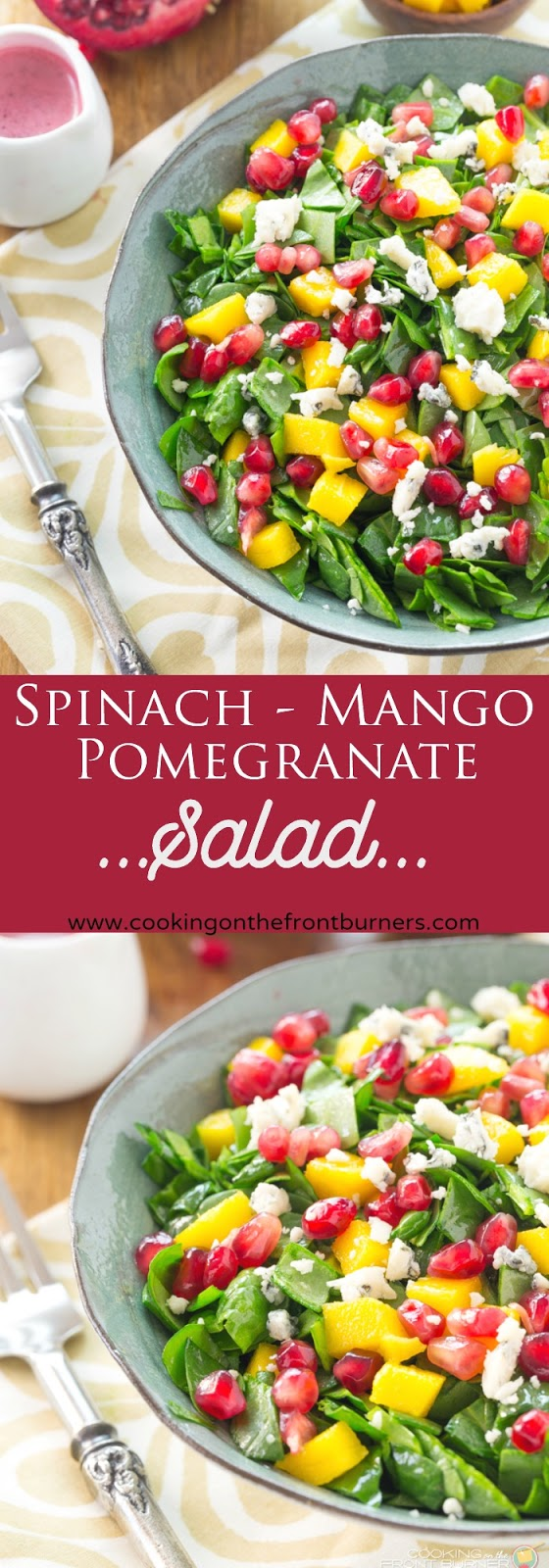 Chopped Spinach Pomegranate Salad | Cooking on the front Burner