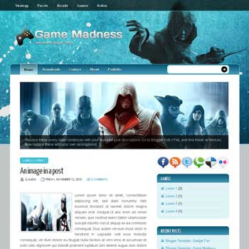Game Madness blogger template. template blog image slider blogspot template. 3 column footer template blogspot blog. games blogger template