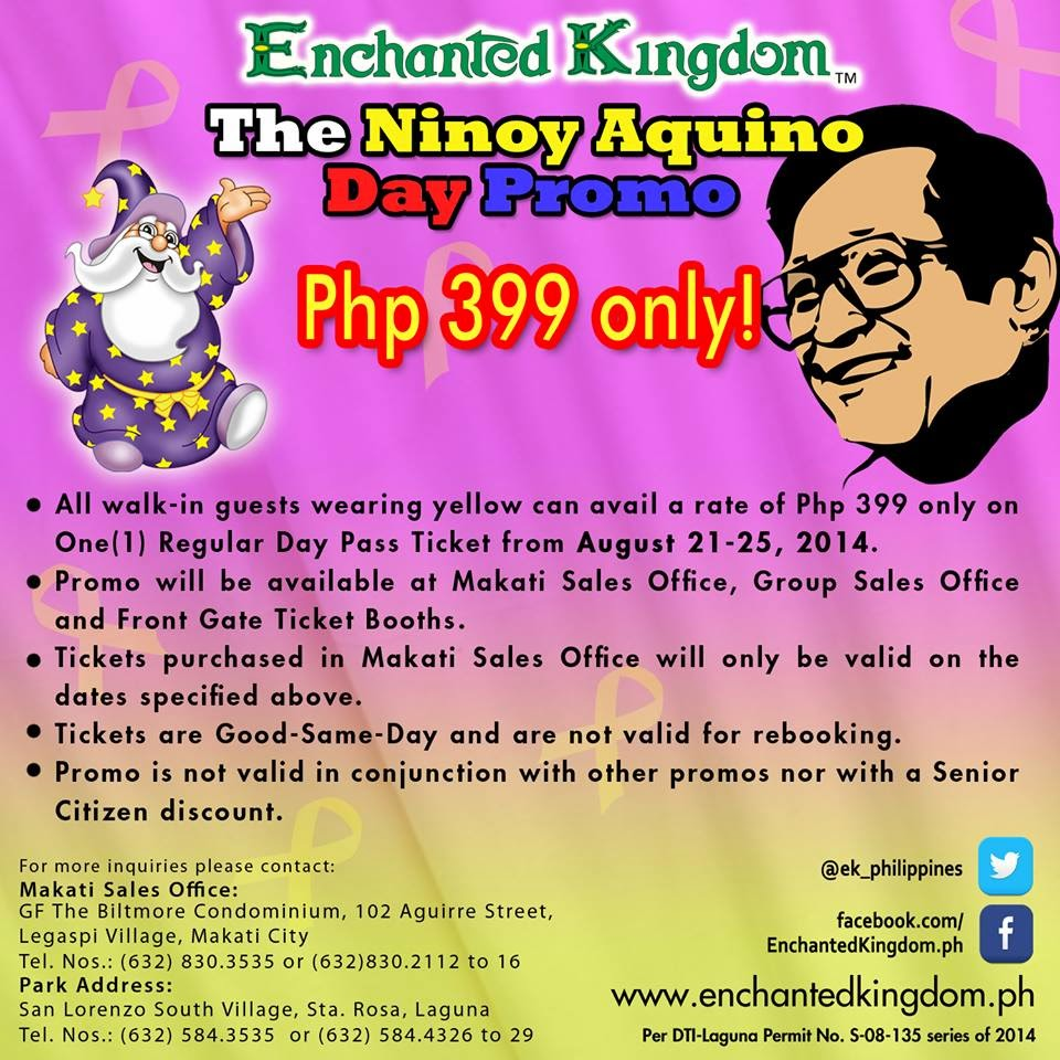 Manila Shopper: Enchanted Kingdom Ninoy Aquino Day ...