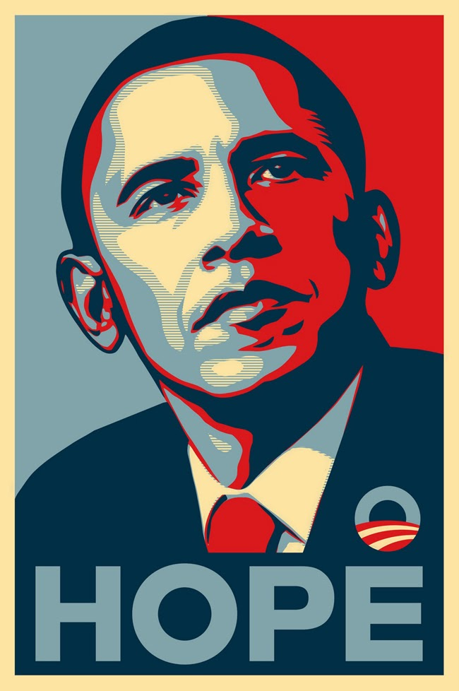 "Barck Obama ""HOPE"" poster  Shepard Fairey"