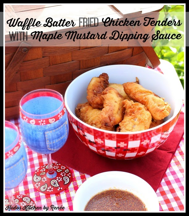 Waffle Batter Fried Chicken Tenders Recipe via kudoskitchenbyrenee.com