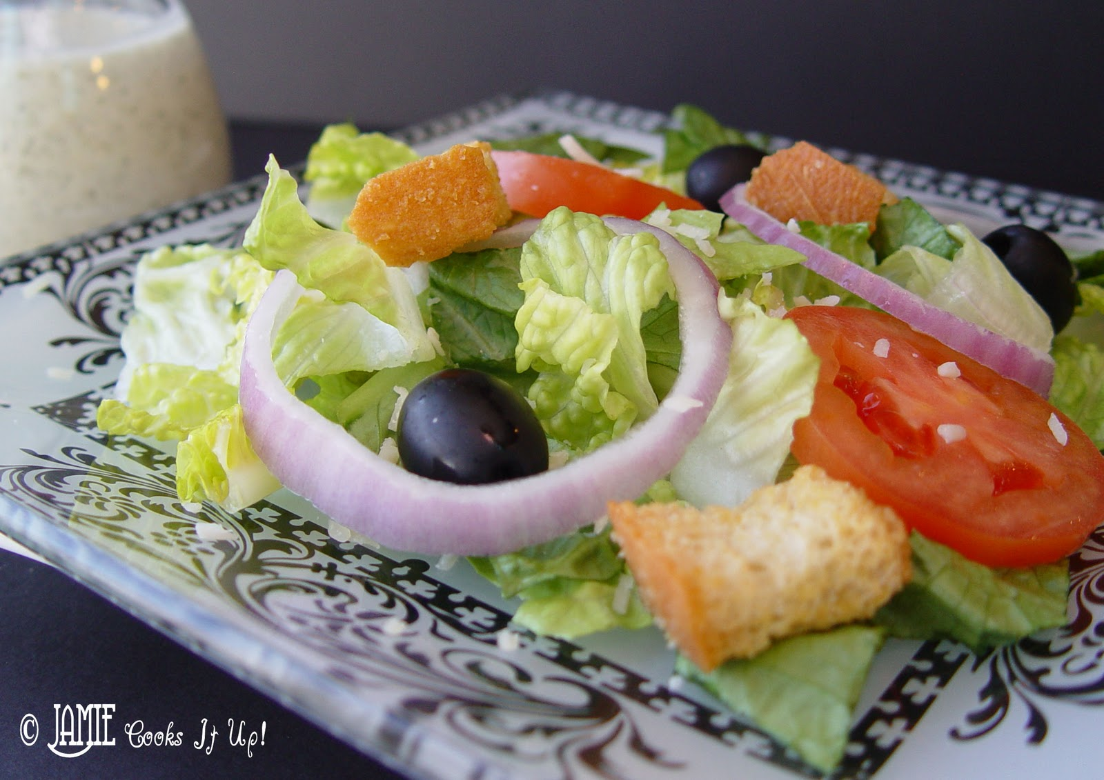 3 pour dressing over the top toss to coat and serve immediately pinterest friendly image below olive garden salad - How To Make Olive Garden Salad