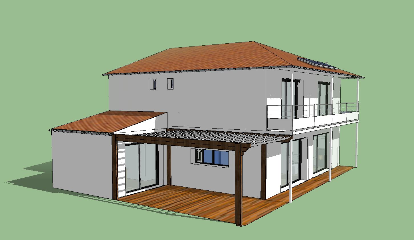 maison avec balcon terrasse la maison est conome en. Black Bedroom Furniture Sets. Home Design Ideas