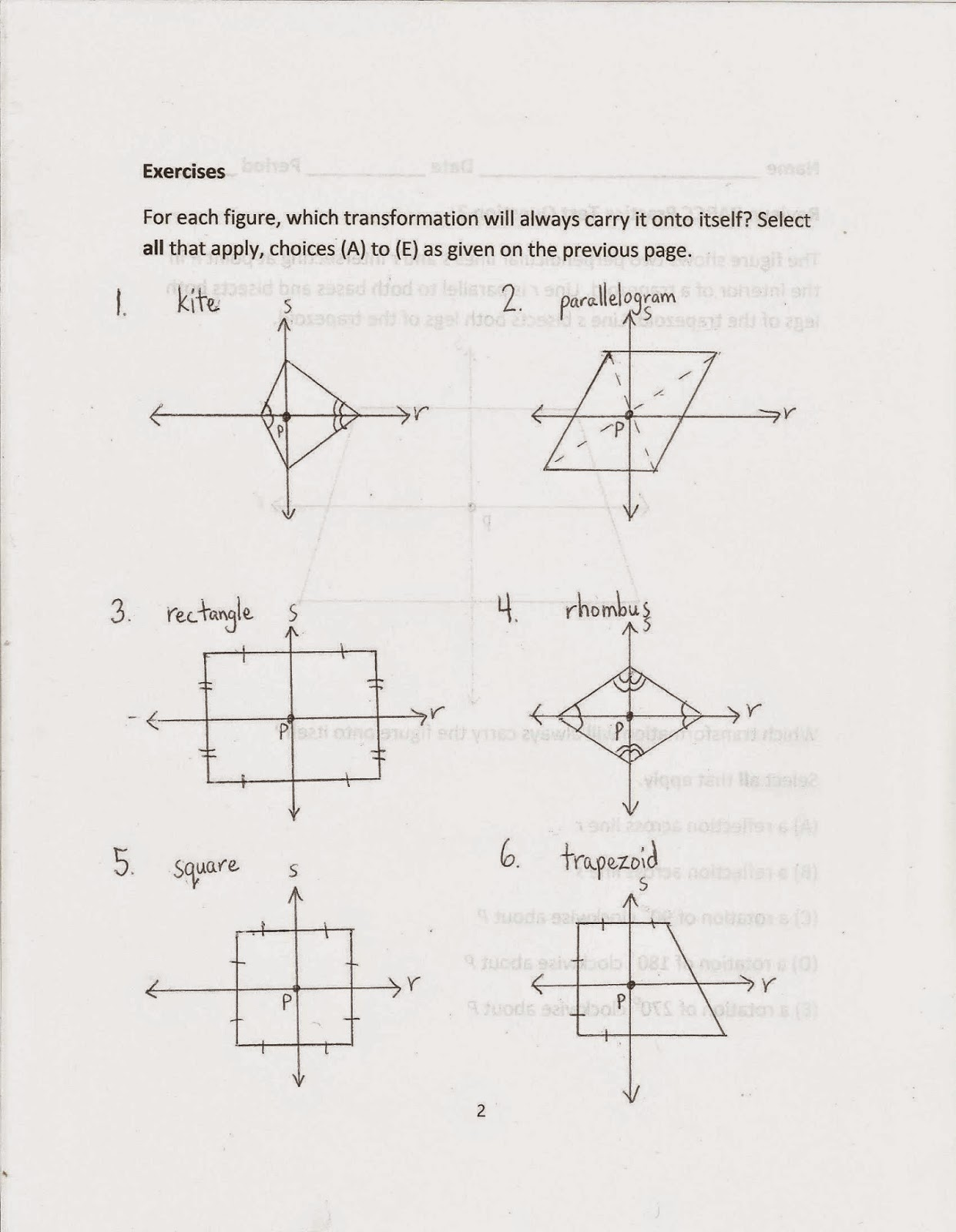 worksheet Rotational Symmetry Worksheet geometry common core style parcc practice test question 2 day 147 unfortunately the text does not cover rotational symmetry adequately this worksheet includes questions about these other quadri