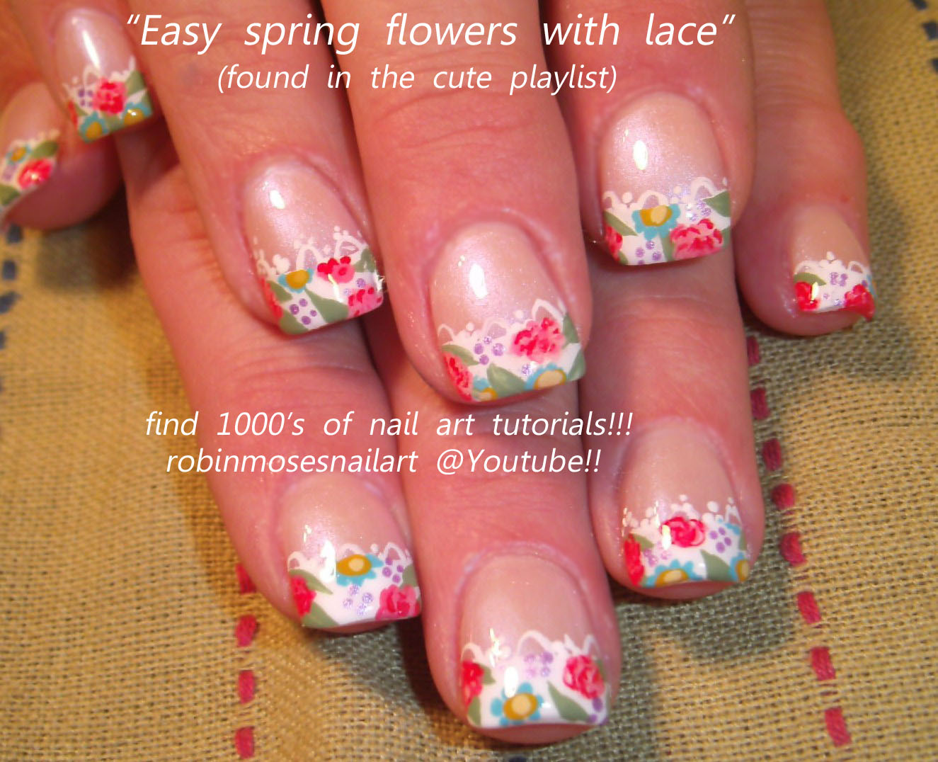 Nail Art Design French Lace Nails Floral French Manicure Spring