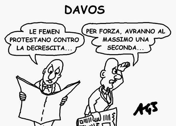 Femen, Davos, Crisi, decrescita, economia satira vignetta