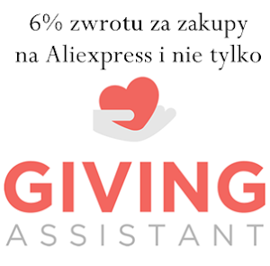 Giving assistant 6% zwrotu za zakupy na Aliexpress