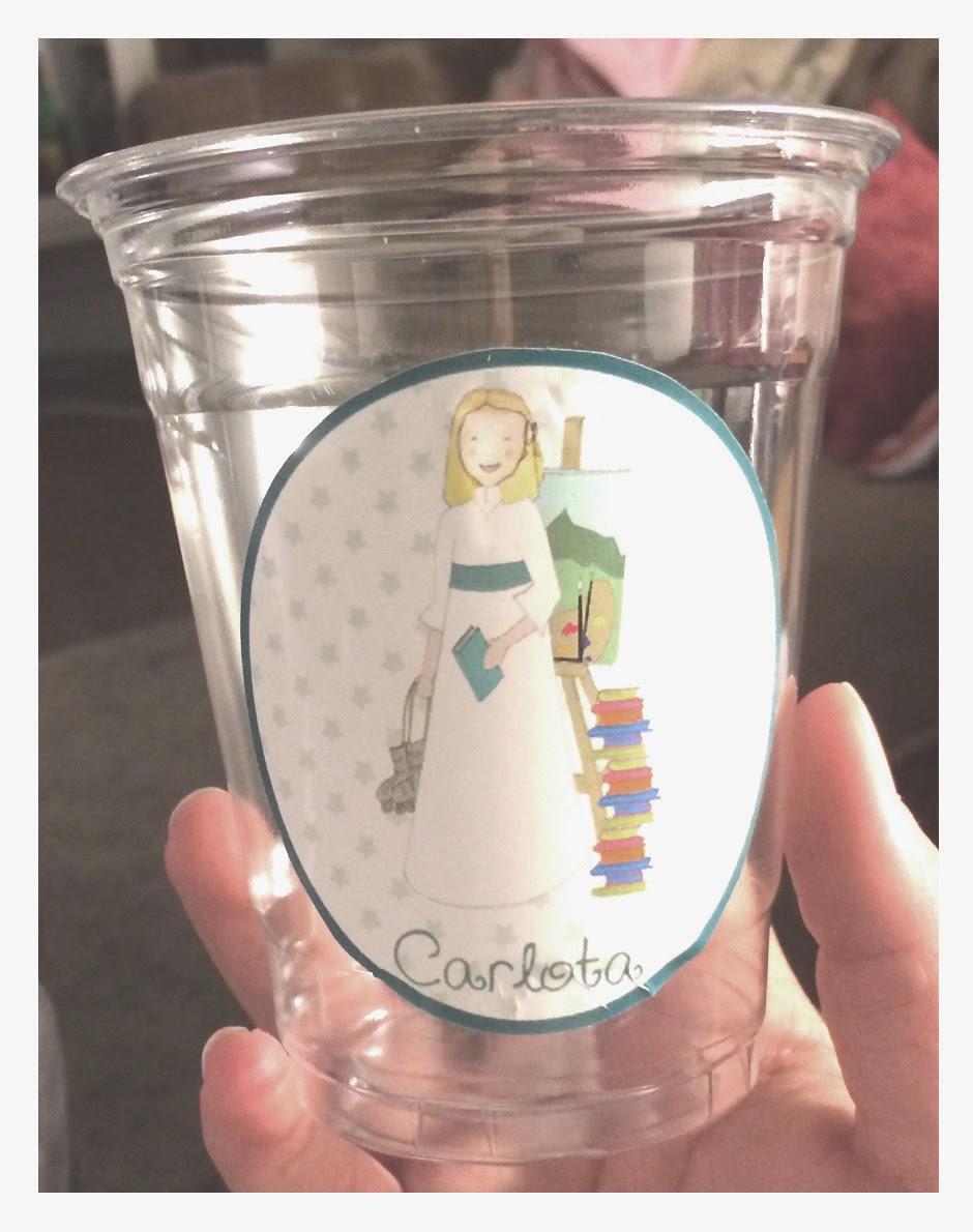 vasos con pegatinas diseño mi universo diy primera comunión