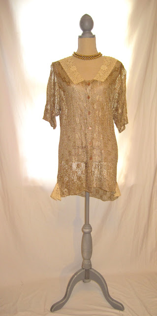 Vintage Crochet Duster, Antique Gold Color, Romantic Shabby Chic  Pleasant Feel Women's Tunic
