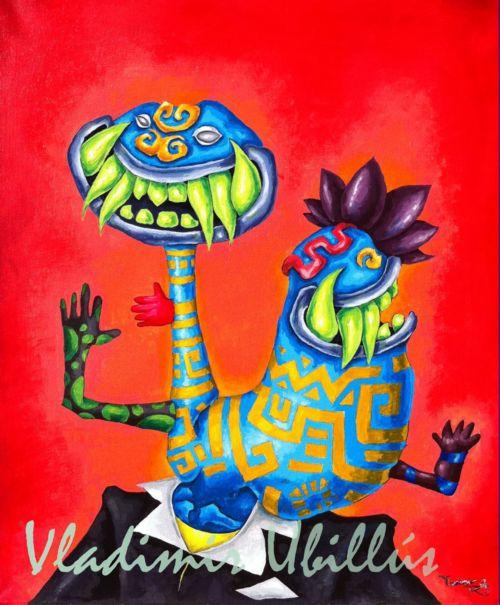 Siames Chavín. (Acrílico sobre lienzo). / Siamesischer Chavín. (Acryl auf Leinwand).