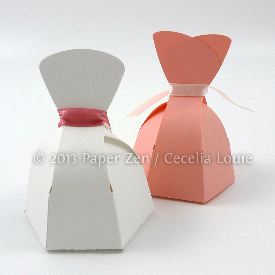 Paper Zen: Bride Dress and Groom Tuxedo Party Favor Boxes