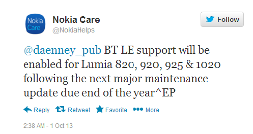 nokia confirms bluetooth 40 LE enable in lumia