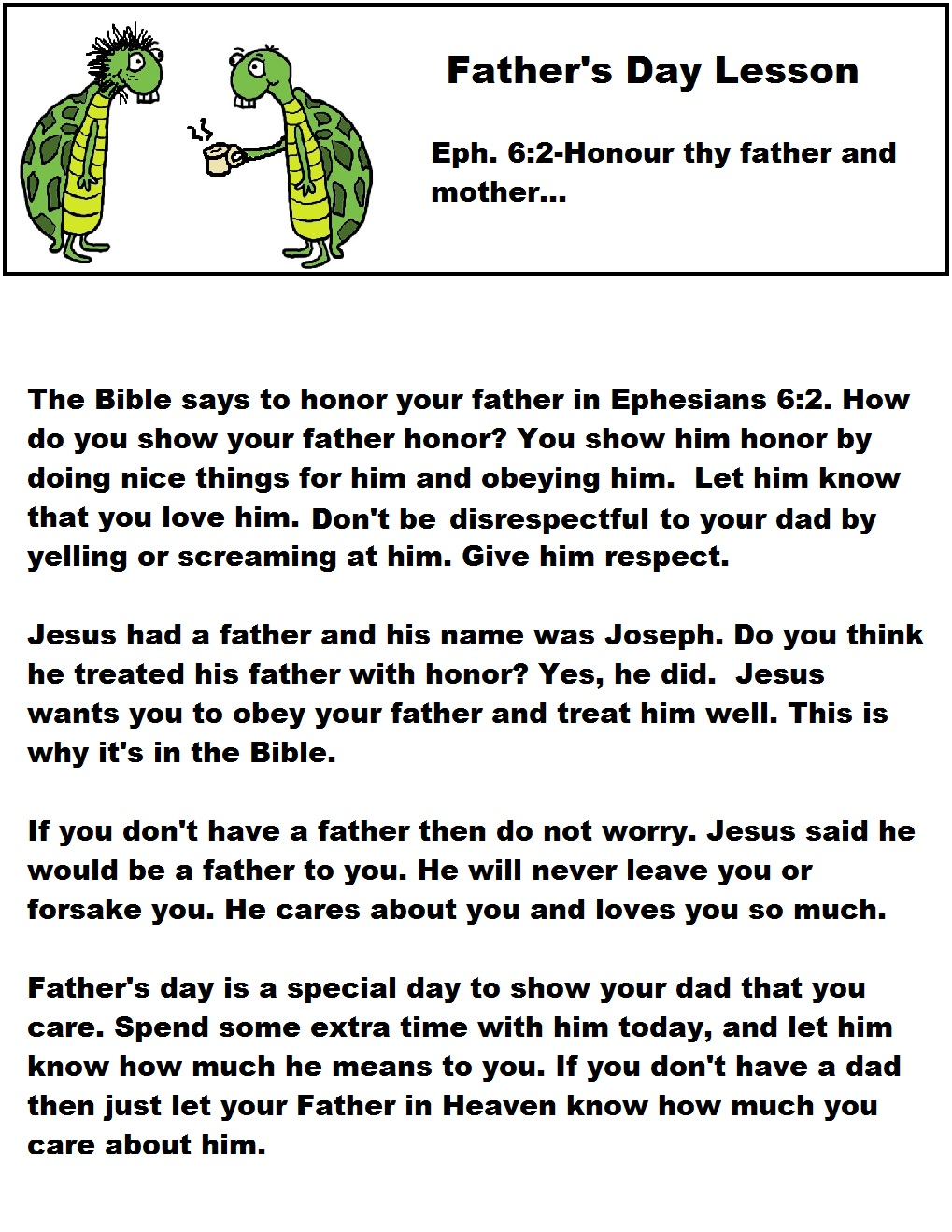 Print this father s day sunday school lesson out for the kids it has a