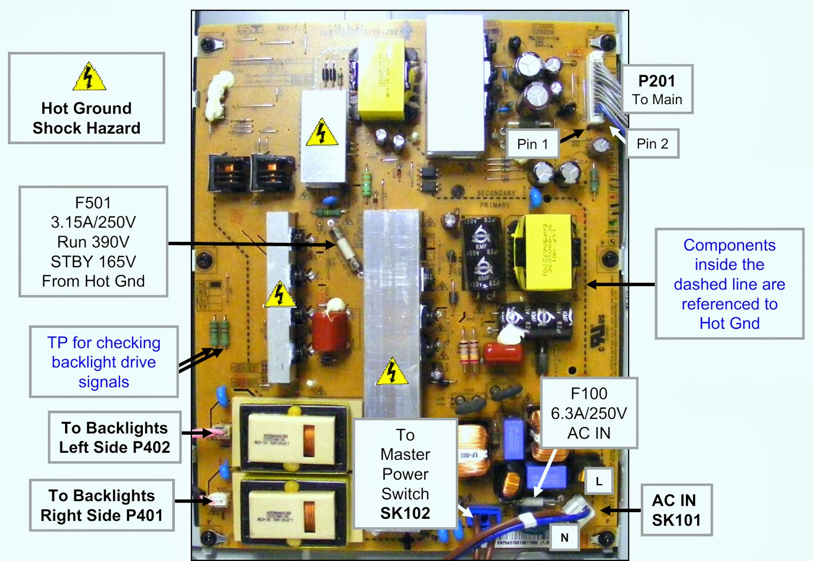 HOW TO CHECK POWER SUPPLY BOARD VOLTAGES - LG42LH50 - LCD TV ...