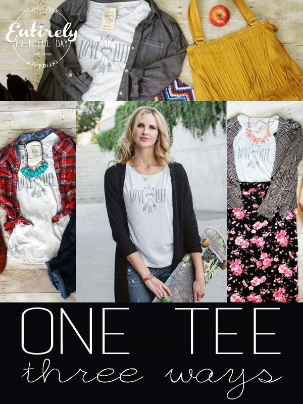 One Tee Shirt... worn three totally different ways. Love the cute arrow graphic. #mysisterstee #arrow #graphictees #teeshirt #fashion
