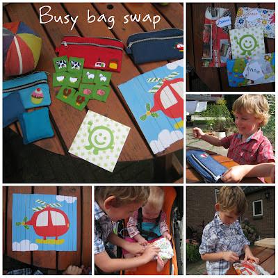 De ontvangen busy bags van de swap, voor elk kindje een eigen kado!