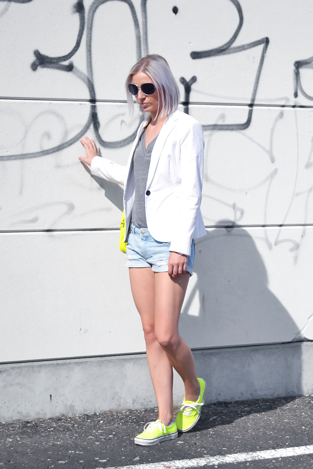 Bright yellow outfit, white blazer, zara, satchel bag, neon vans, ootd, summer 2015