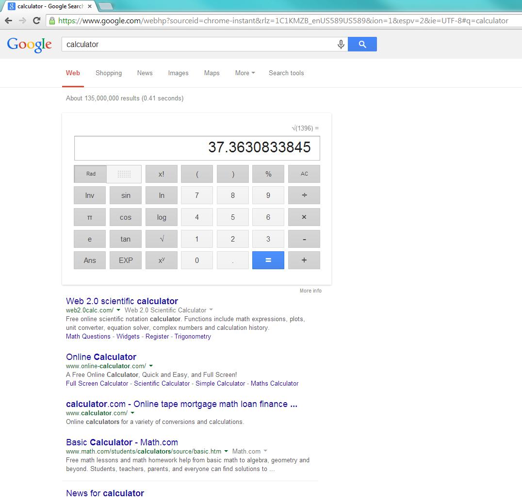 Google's calculator