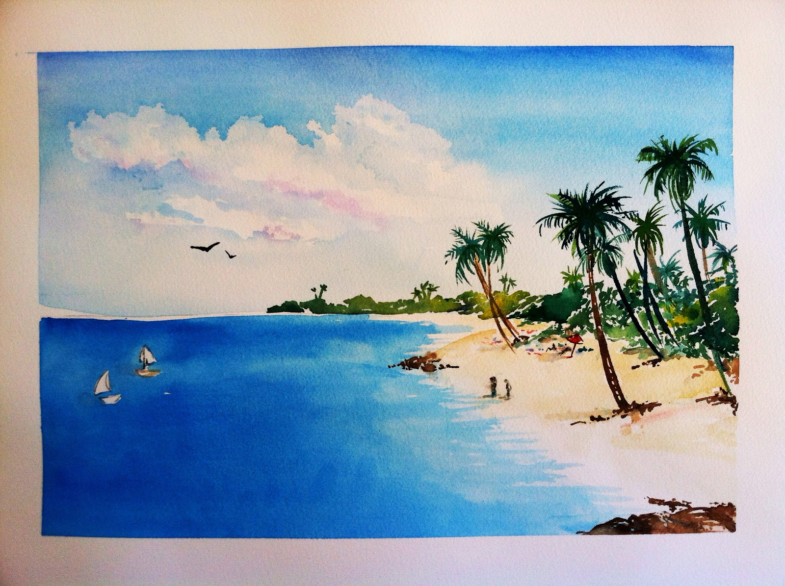 Fine watercolor art for sale - Tropical Beach Scene For Sale