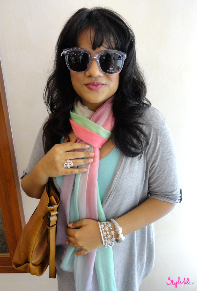 outfit, style file india, scarf, jewellery, pastel, sunglasses, arm party