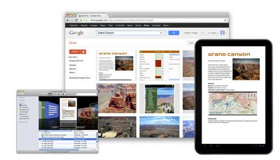 Ansicht Google Drive auf dem Desktop-PC, auf dem Tablet und in der iOS-Version.